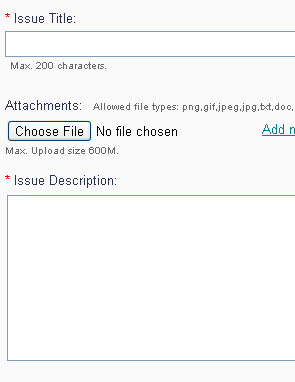 screenshot of add issue page
