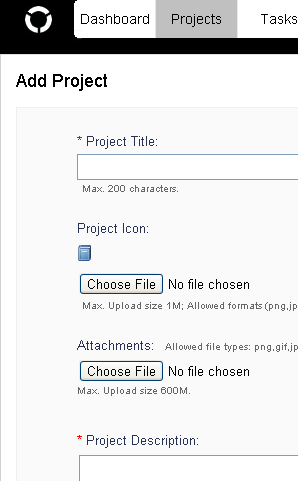 screenshot of add project page