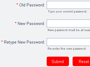 screenshot of admin change password page