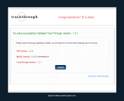 screenshot of TrackThrough installation success page