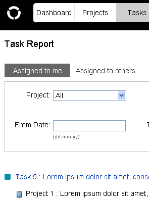 screenshot of task report page